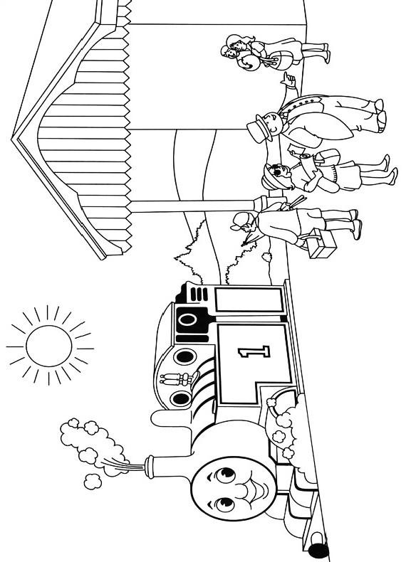Dibujo del tren Thomas que llega a la estación para ser impreso y coloreado.