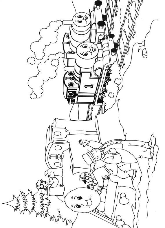 Dibujo del trenecito Thomas que saluda al alcalde para imprimir y colorear