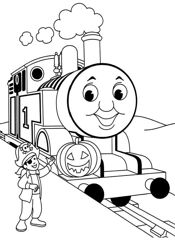 Dibujo del Tren Thomas celebrando Halloween con una calabaza para imprimir y colorear