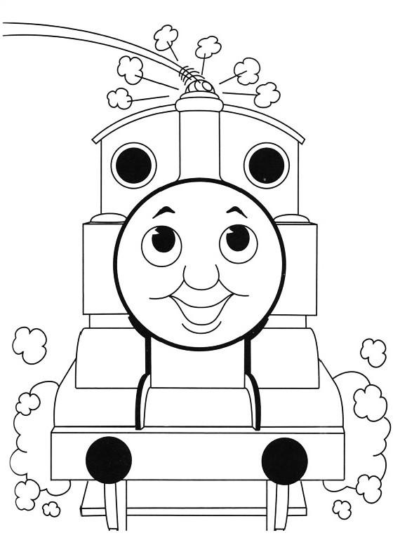 Dibujo del tren Thomas que sopla vapor para imprimir y colorear