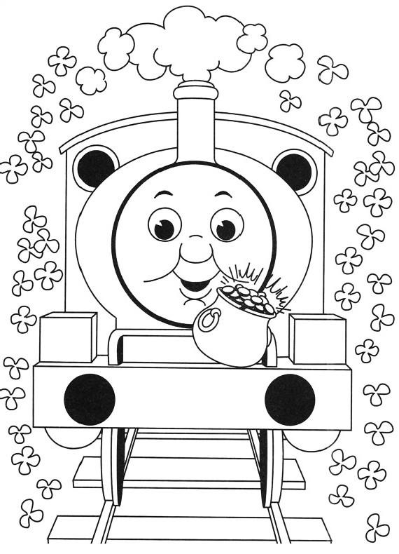Thomas tren rodeado de flores para imprimir y colorear