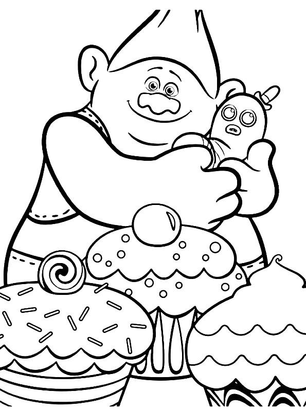 Coloriage 3 de Trolls à imprimer et colorier