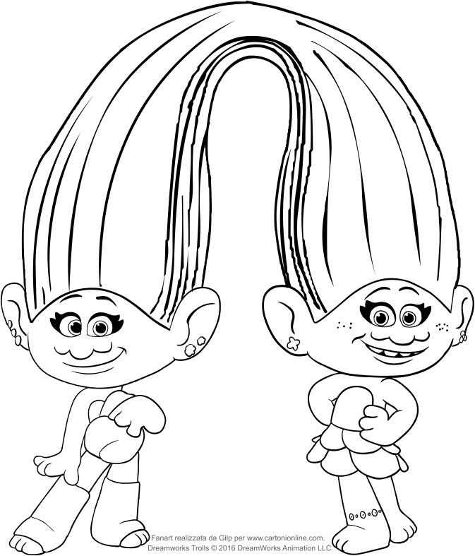 Disegno Di Seta E Ciniglia Dei Trolls Da Colorare