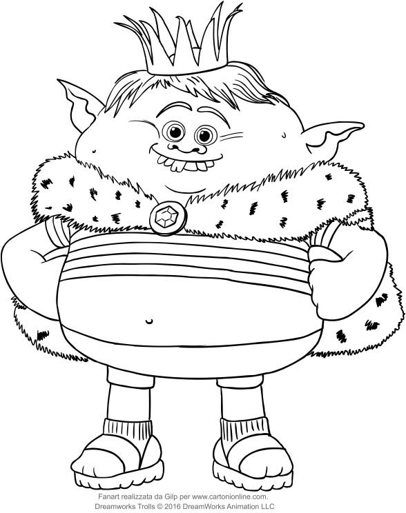 Disegno di Principe Gristle dei Trolls da stampare e colorare