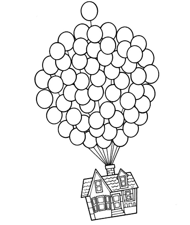 Disegno della casa che vola con i palloncini di up da colorare for Disegni di casa da stampare