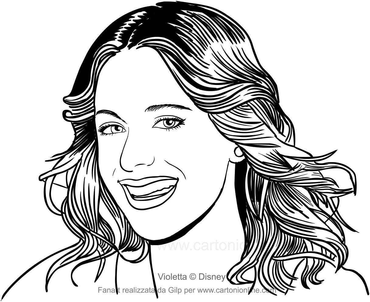フォアグラウンドのヴィオレッタの絵を笑顔で印刷して色付け