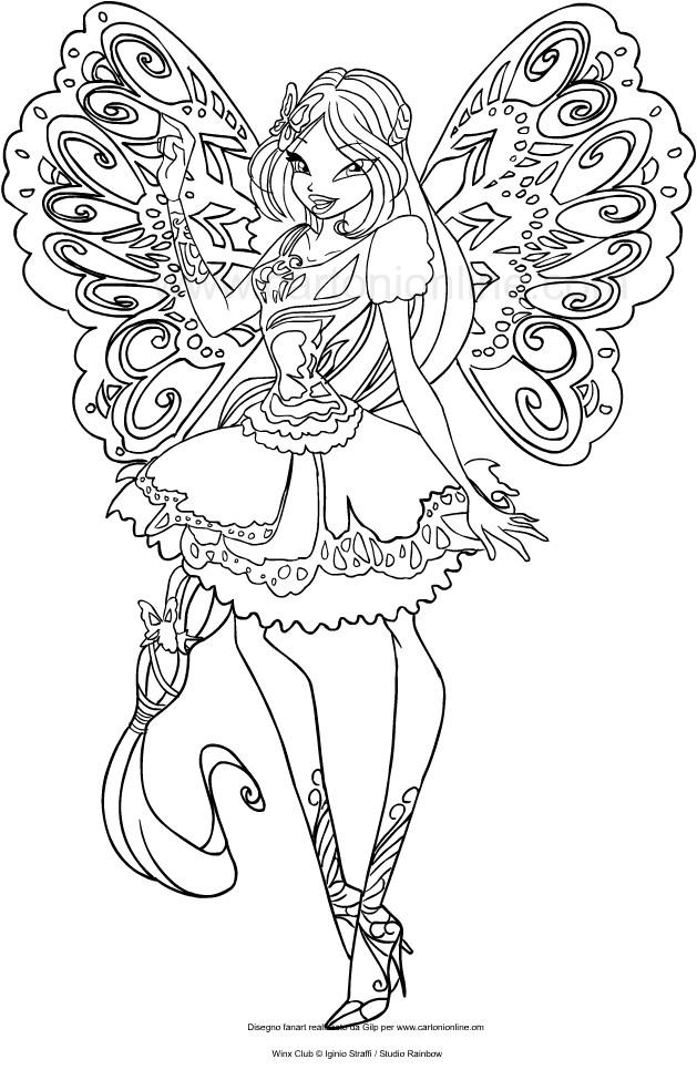 Coloriage de Flora Butterflix (Winx Club) à imprimer et colorier