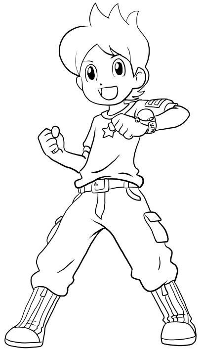 Colorear Nathan Adams de Yo-Kai Watch para imprimir y colorear