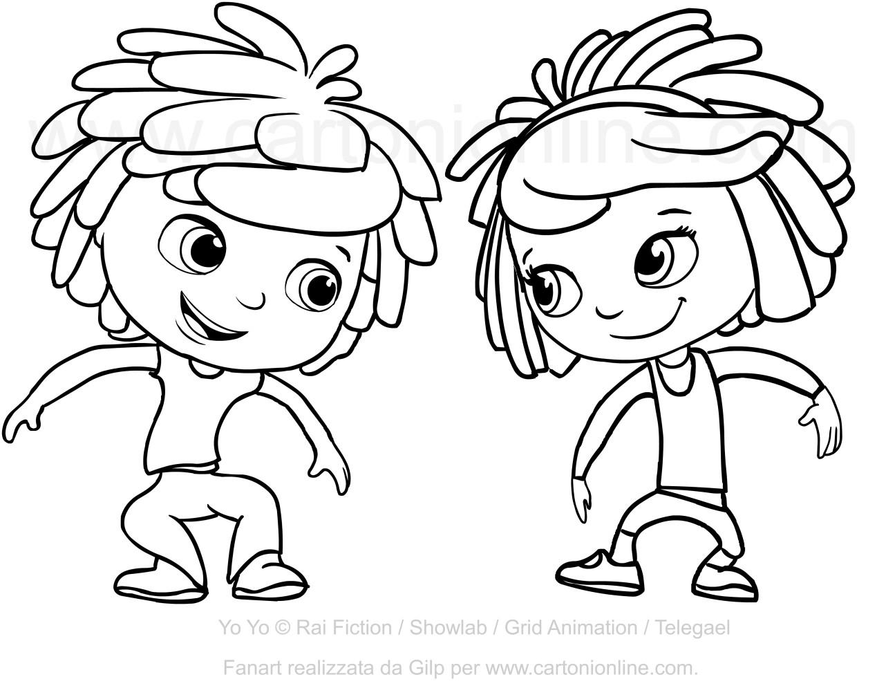 Disegno di yo e yo da colorare for Cartoni animati da stampare e colorare