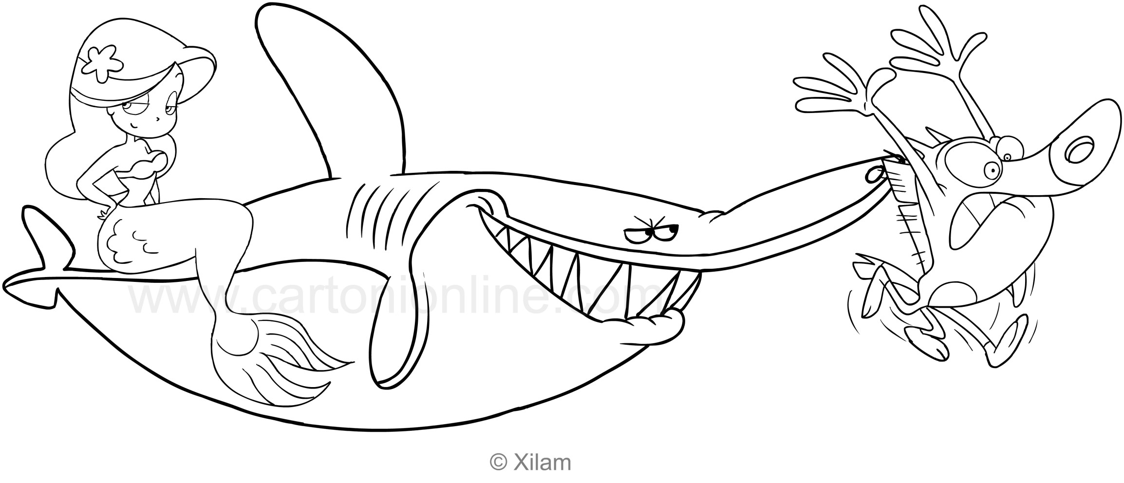 Disegno di zig sharko e marina da colorare for Zig e sharko marina