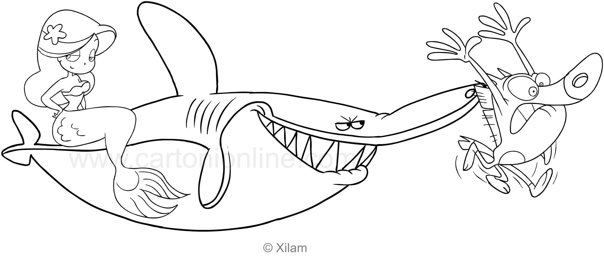 Disegno Di Zig Sharko E Marina Da Colorare