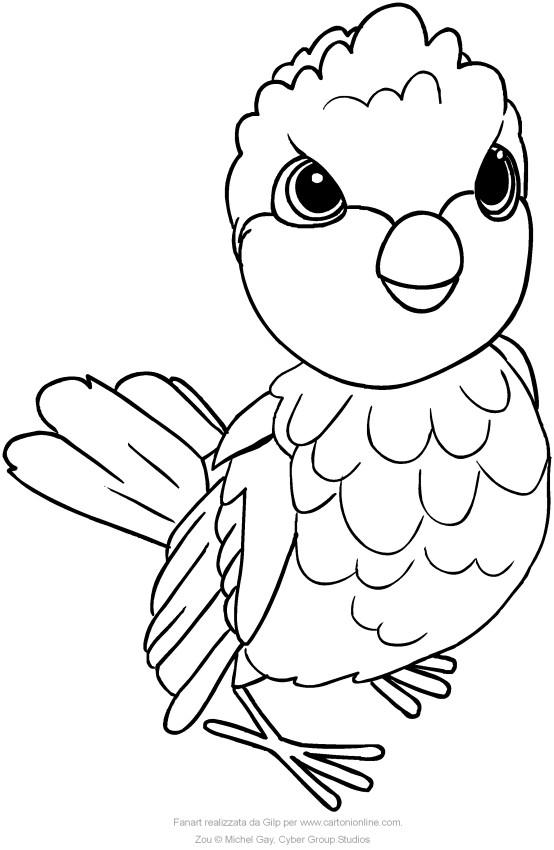 Disegno di Poc l'uccellino di Zou da stampare e colorare