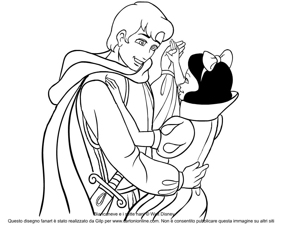 Disegno Da Colorare Di Biancaneve E Il Principe Azzurro