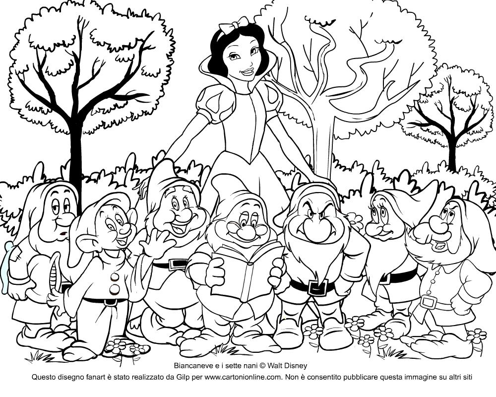 Immagini Dei Sette Nani Da Colorare.Disegno Da Colorare Di Biancaneve E I Sette Nani