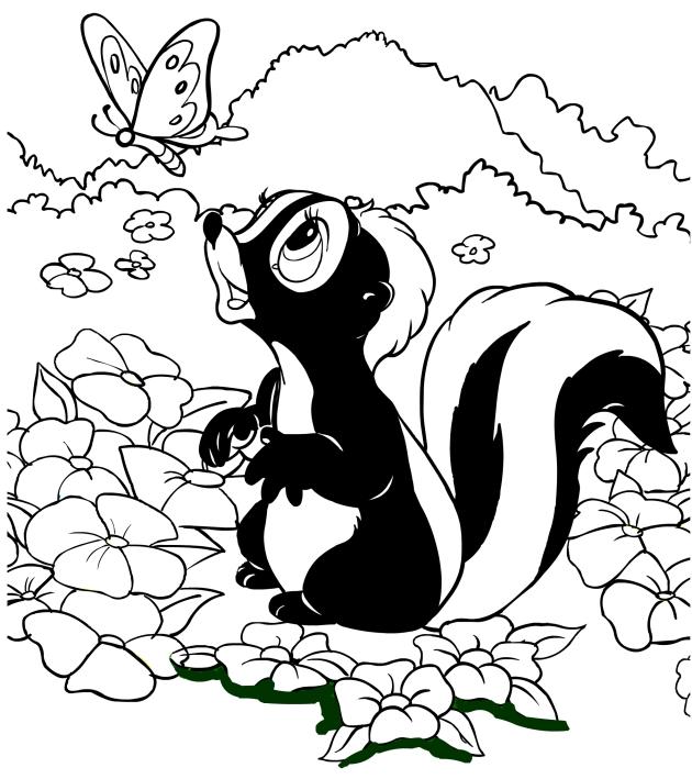 Disegno da colorare della puzzola fiore for Cip e ciop immagini da colorare