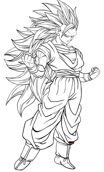 Disegno Di Goku Super Saiyan Di Terzo Livello Da Colorare
