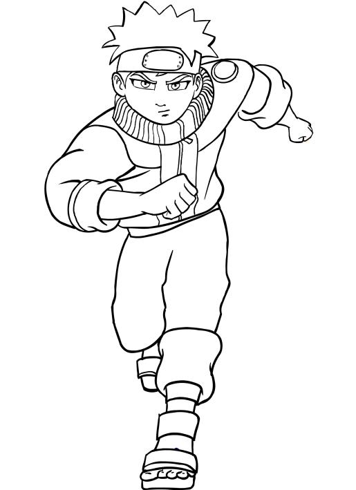 Disegno Da Colorare Di Naruto Che Corre