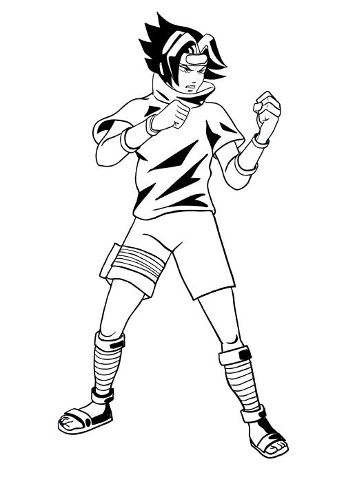 Disegno Da Colorare Di Sasuke Pronto Al Combattimento
