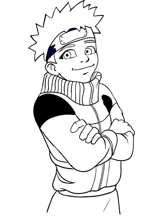 Disegno Da Colorare Di Naruto Sorridente A Mezzo Busto