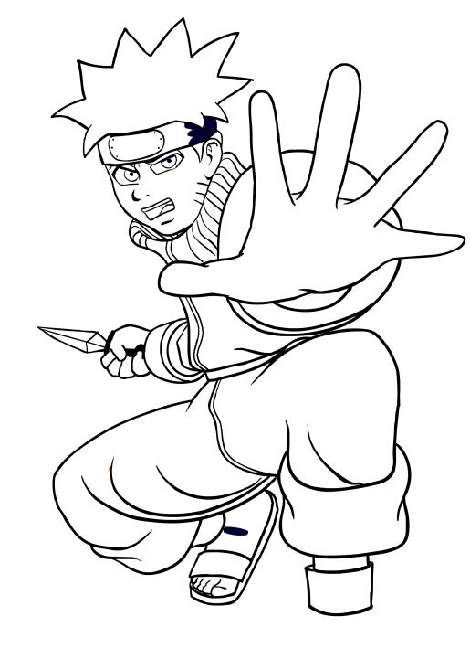 Disegno Da Colorare Di Naruto Con Il Potere Del Chakra