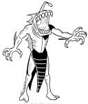 Tekening van de alien Chews (Ripjaws) de amfibie met grote kaken