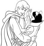 Dibujo para colorear de Blancanieves y el príncipe azul