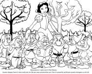 Dibujo para colorear de Blancanieves y los siete enanitos