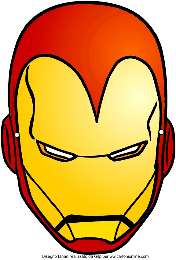 Maschera di iron man avengers da ritagliare for Iron man da colorare