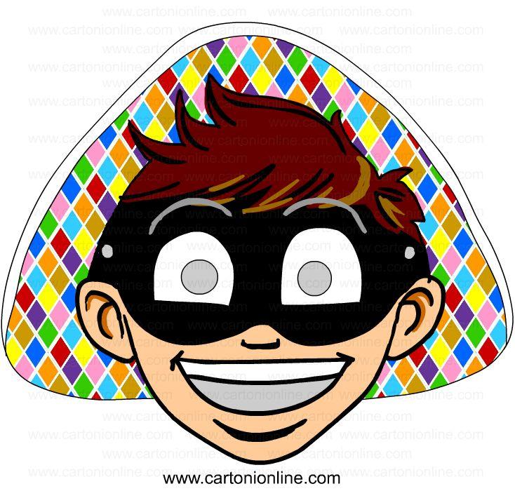 Maschera di arlecchino da stampare e ritagliare for Maschere stampabili