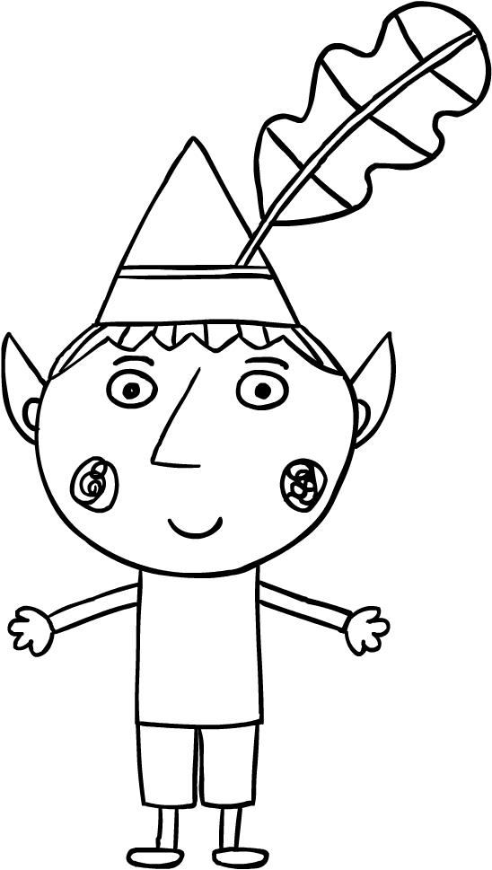 Drawing Bin the elf (El Pequeño Reino of Ben and Holly) coloring page