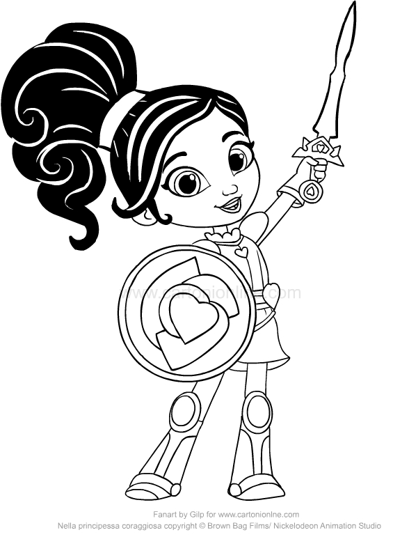 drawing nella the princess knight coloring pages printable for kids