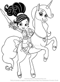 drawing nella and the unicorn trinket coloring page