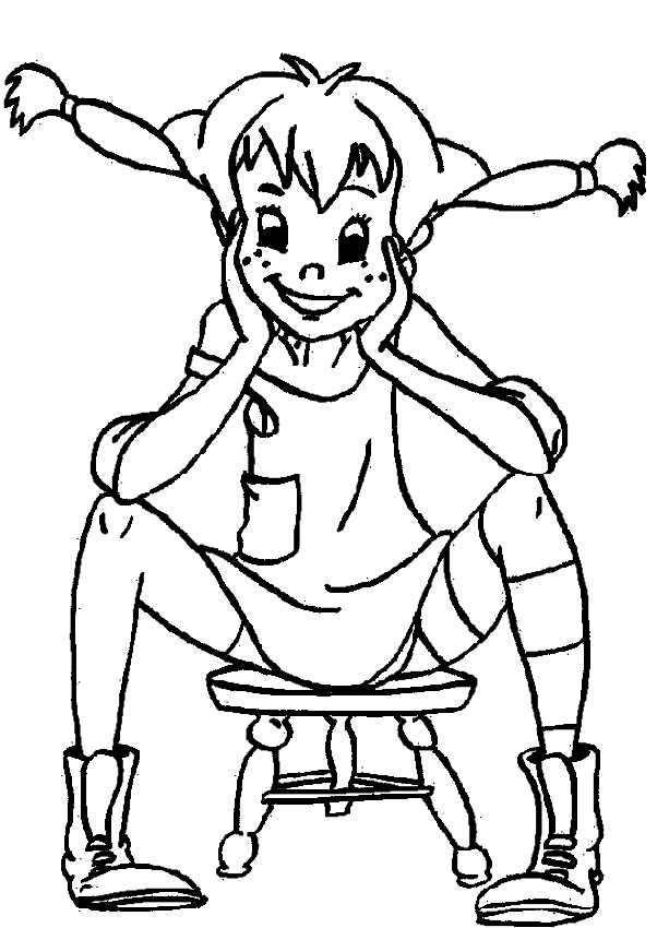 Drawing of Pippi Longstocking coloring