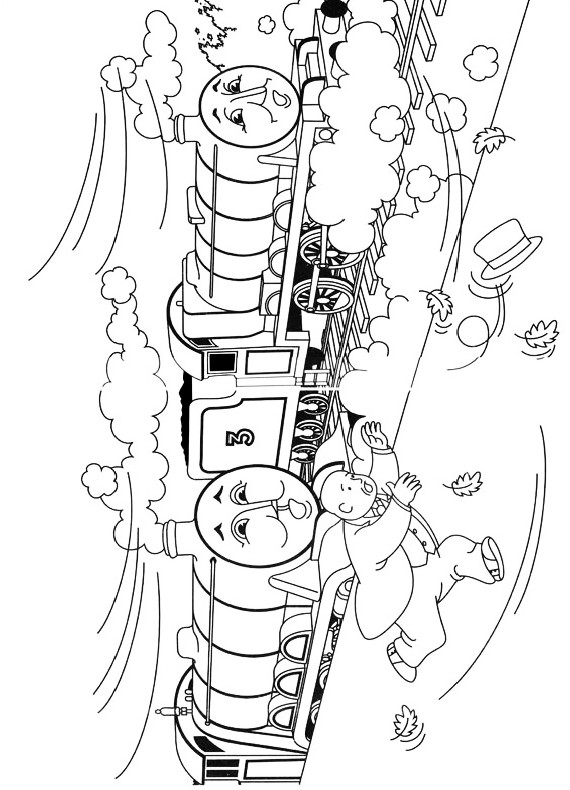 Drawing The Train Henry And Wind Who Blows Mayors Hat Coloring Pages Printable For Kids