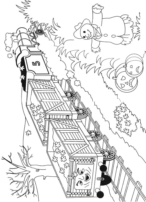 Drawing The Locomotive James And Field Of Halloween Pumpkins Coloring Pages Printable For Kids