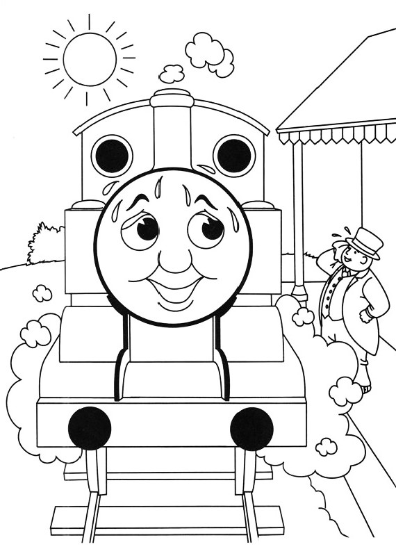 graphic relating to Thomas the Train Face Printable identified as Drawing the Thomas prepare sweaty through the Terrific warm coloring site