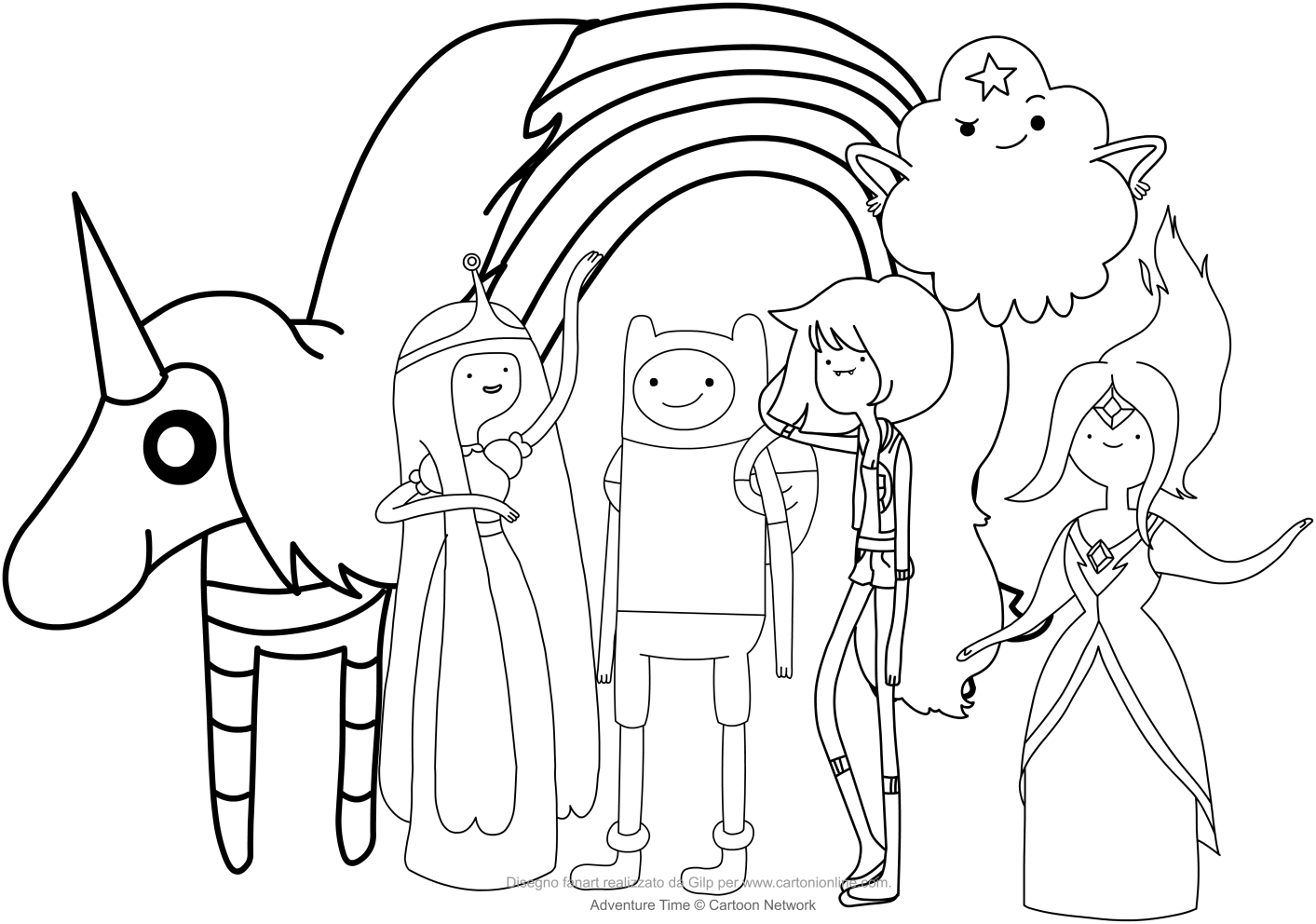 Finn and the princesses Adventure Time coloring pages