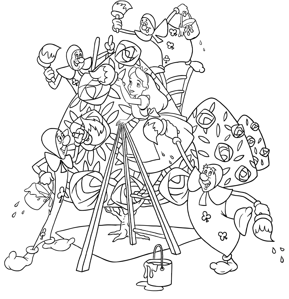 alice and paper soldiers who paint the roses coloring pages