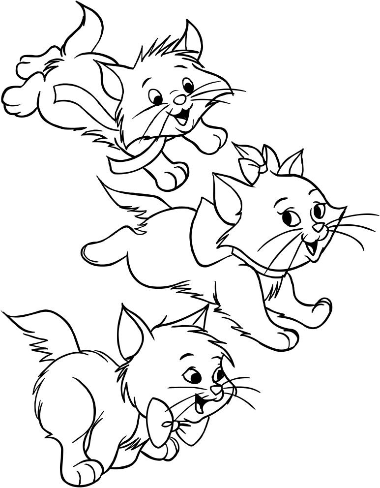 Marie, Berlioz and Matisse of Aristocats coloring pages