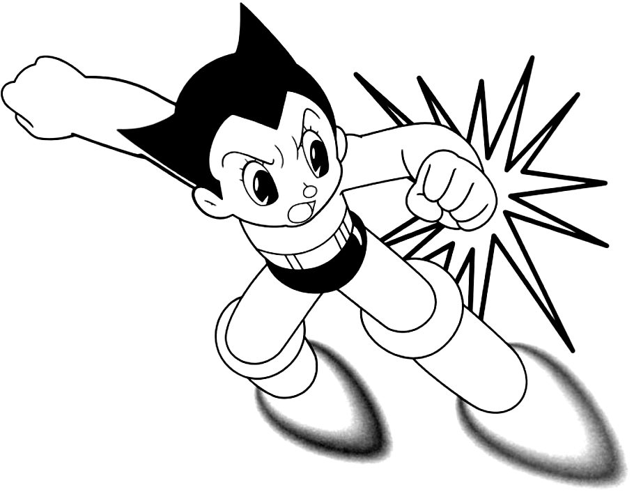 Drawing Astroboy In Action Coloring Page
