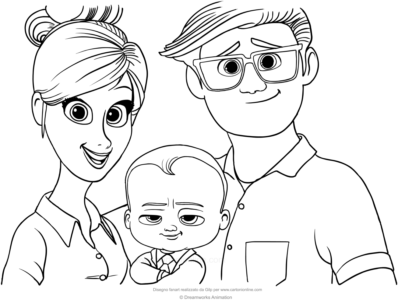 Boss Baby With His Parents Coloring Page To Print