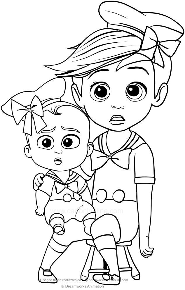 Tim And Boss Baby With Sailor Suit Coloring Page To Print