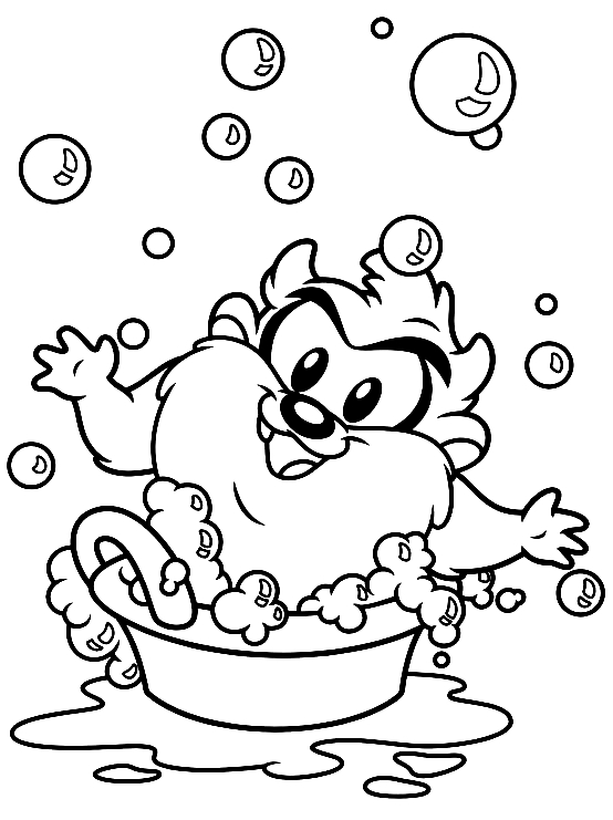 Drawing Baby Taz Who Washing Baby Looney Tunes Coloring Page