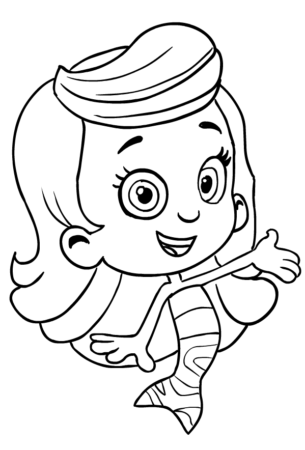 Drawing of Molly from the Bubble Guppies coloring page