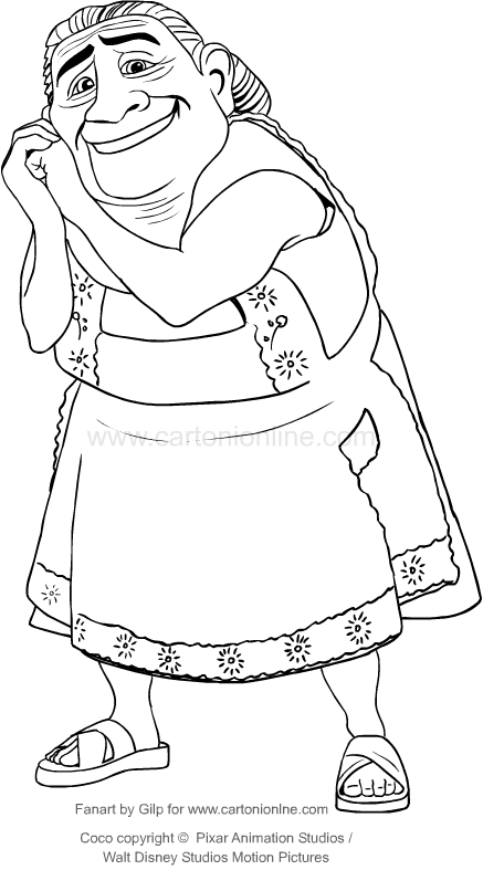 drawing abuelita coco the movie coloring pages printable for kids - Coloring Page Coco
