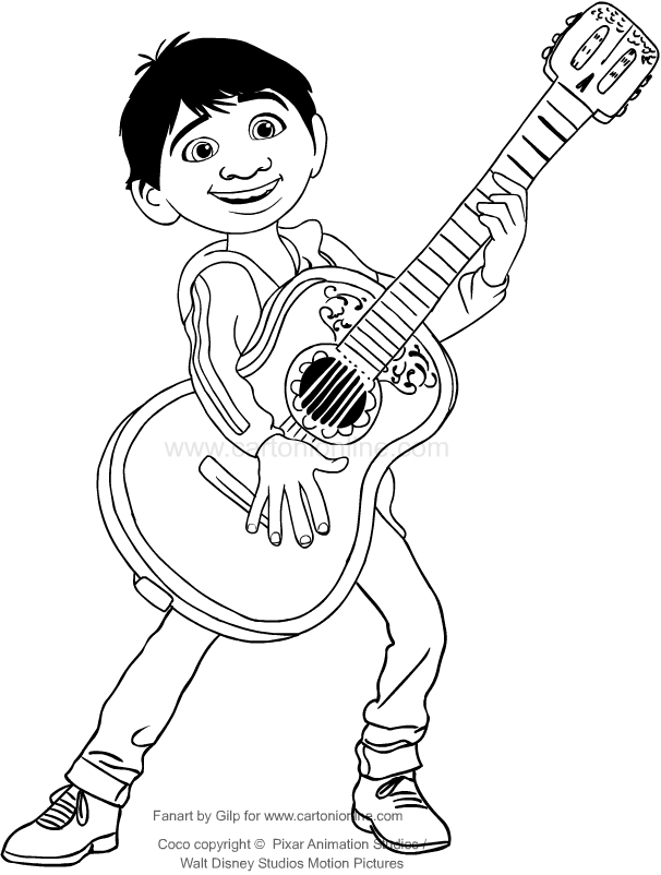 Drawing Miguel Who Play The Guitar Coco Movie Coloring Pages Printable For Kids