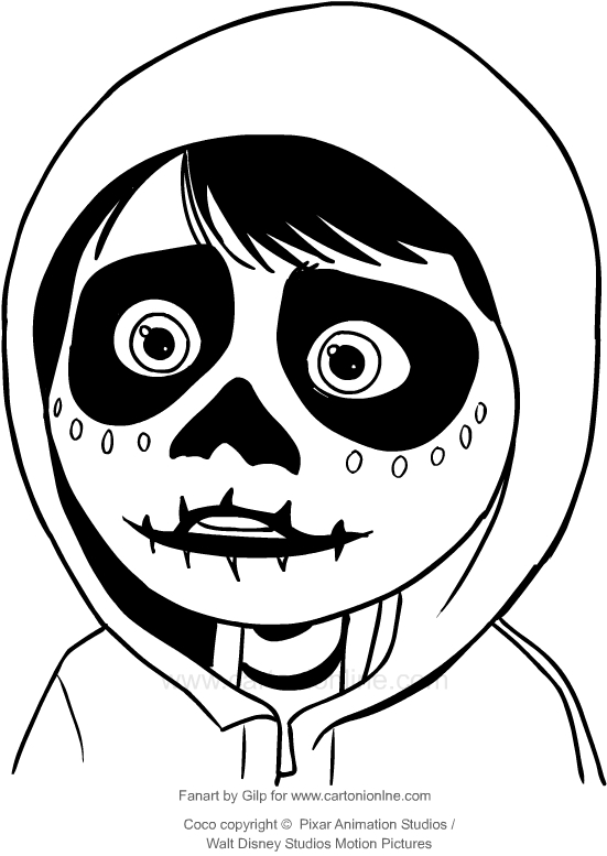Drawing Miguel With A Mask Of Skeleton Coco The Movie Coloring Page