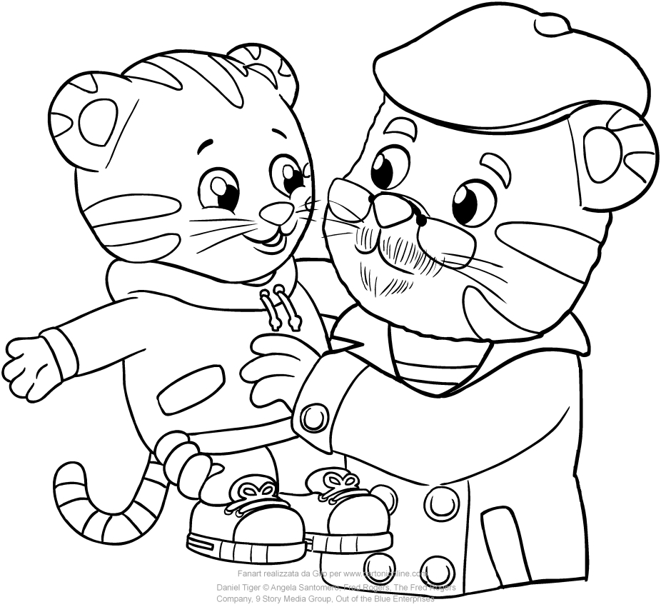Daniel and Grandpere Tiger coloring pages