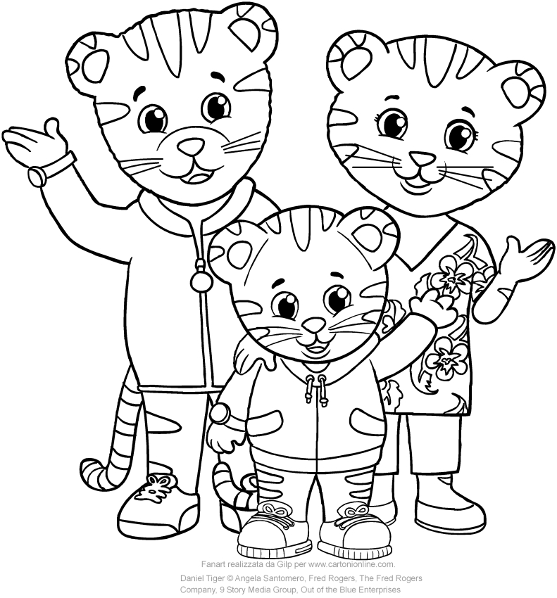 daniel with dad and mom tiger di daniel tiger coloring page to print - Daniel Tiger Coloring Pages