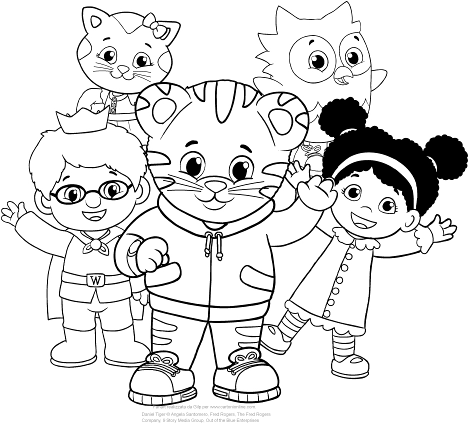 Daniel Tiger and his friends coloring pages